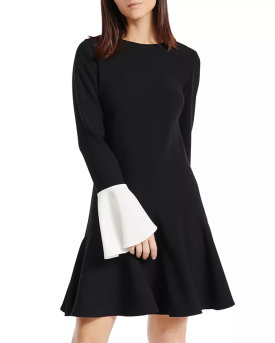 PAULE KA Contrast Color-Cuff A-Line Dress