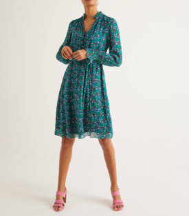 Evangeline Dress – Vibrant Teal, Garden Charm
