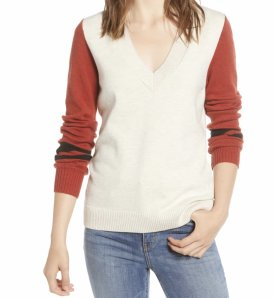Treasure Bond Stripe V Neck Sweater $69.00
