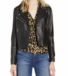 Halogen Leather Moto Jacket $179.40