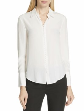 Club Monaco Helek Covered Button Silk Shirt $159.90