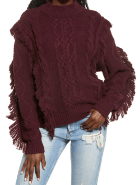 Cable Knit Fringe Sweater $24.99