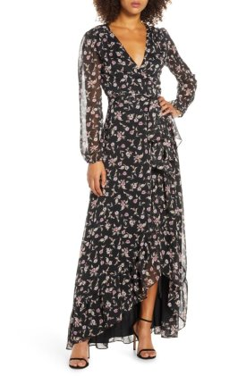 sheer sleeved, floral gown
