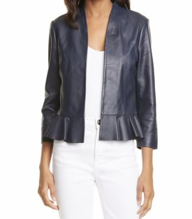 Ted Baker London Febbo Peplum Leather Jacket $239.00