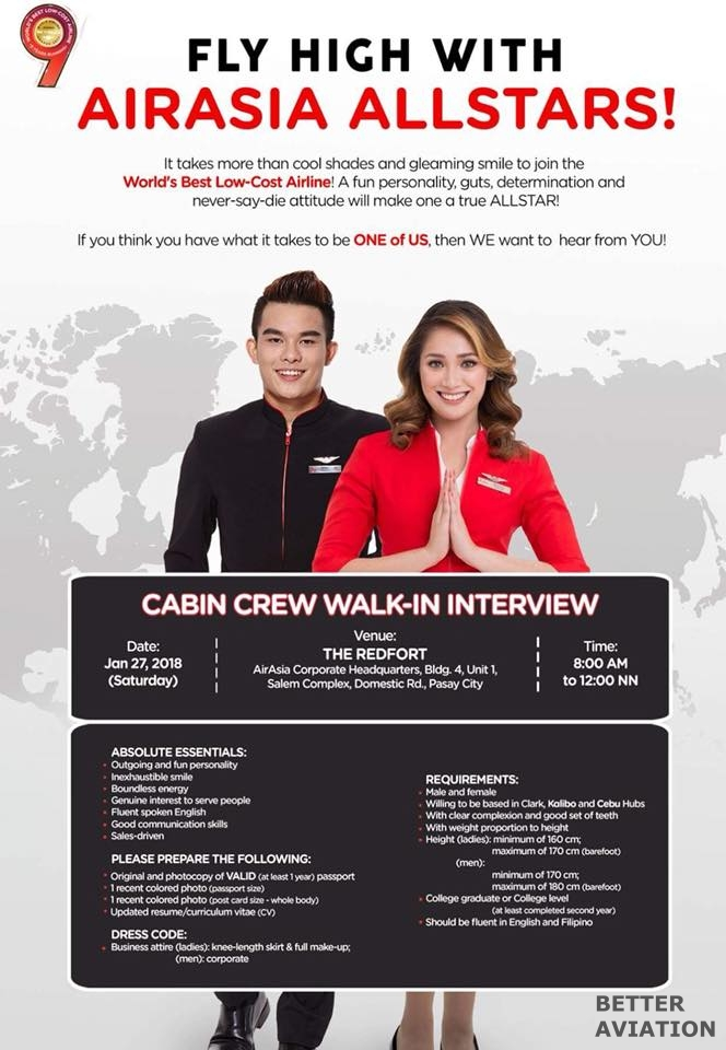 Airasia Philippines Cabin Crew Walk In Interview January 2018