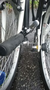 Close-up view of magnets which hold the Carrera Transit folding bike together in folded position