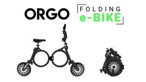 The ORGO folding e-bike viewed from the side folded and unfolded