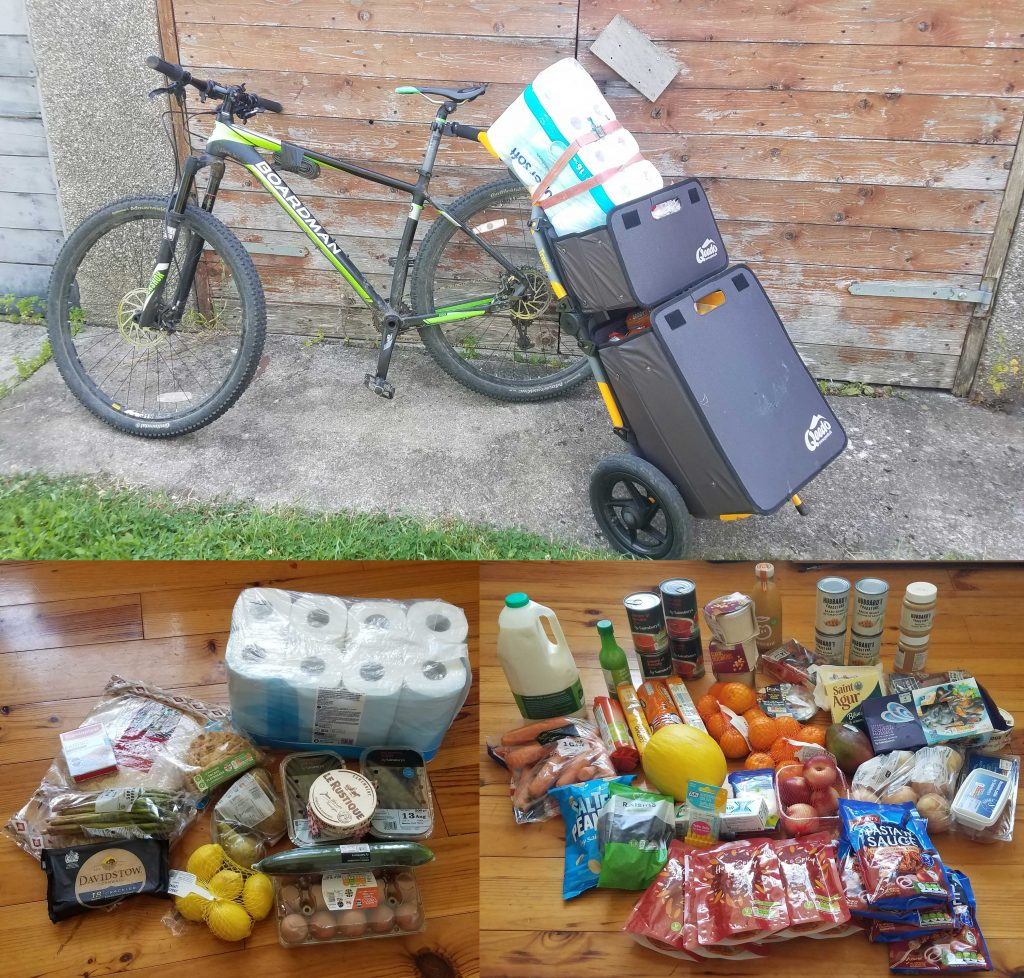 Burley Travoy trailer attached to mountain bike and loaded with shopping, with seperate views showing the large quantity of shopping which fitted inside.