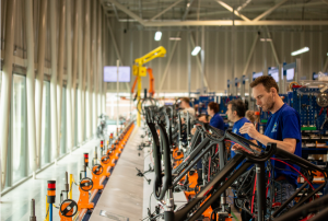 Assembly workers in bicycle factory