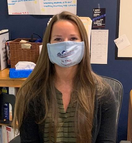 Megan wearing face mask