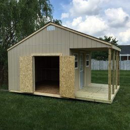 12x12x12 7'sidewalls Barn House with 6x12 Porch incorporated into the rafters
