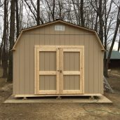 A special 12' wide. Instead of our typical 12 wide being 12'-13' tall this one is 10' tall. It is a 12x12x10 Barn.