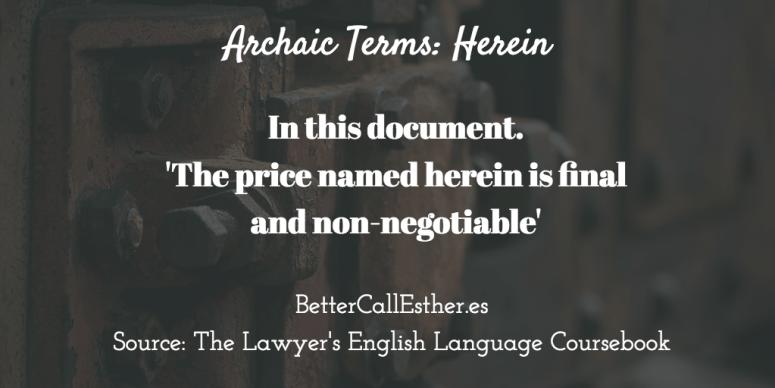 Archaic Terms: Herein
