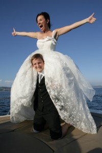 Mariacristina and George on a boat on their wedding day