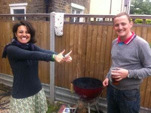 George and Mariacristina barbecuing at home