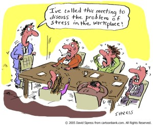 A cartoon meeting of stressed staff to discuss stress at work
