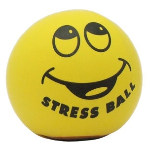 A stress ball with a smiley face