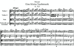 Score for Mozart's Eine Kleine Nachtmusik