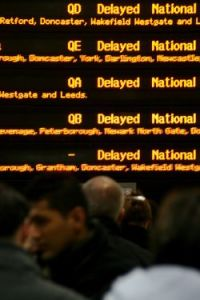 Electronic board showing trains all 'Delayed'