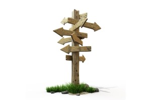Wooden signpost pointing in lots of different directions