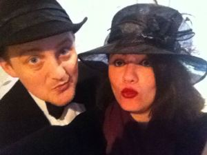 George and Mariacristina dressed up