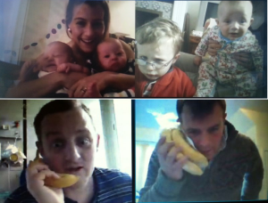 Harriet and twins; Peter and Ben; George and Tom on the bananaphones