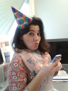 Mariacristina in a party hat