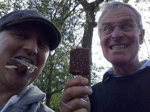 George and his father eating Feast ice creams