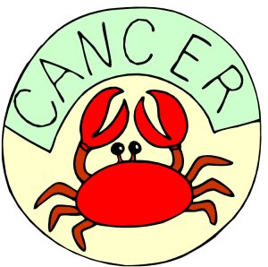 Crab cartoon with 'cancer' written above it