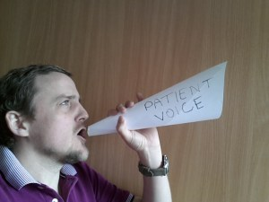 George shouting through 'Patient voice' loudspeaker (made of paper)