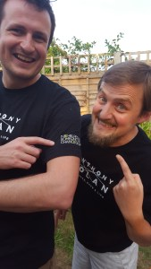 George and Tim in Anthony Nolan t-shirts (Be a match, save a life)