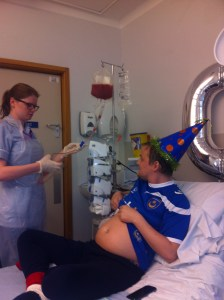 George receiving Tim's stem cells