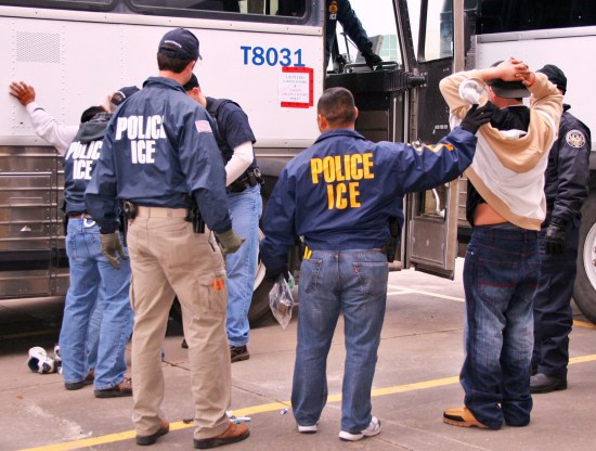 ICE agents and detainees