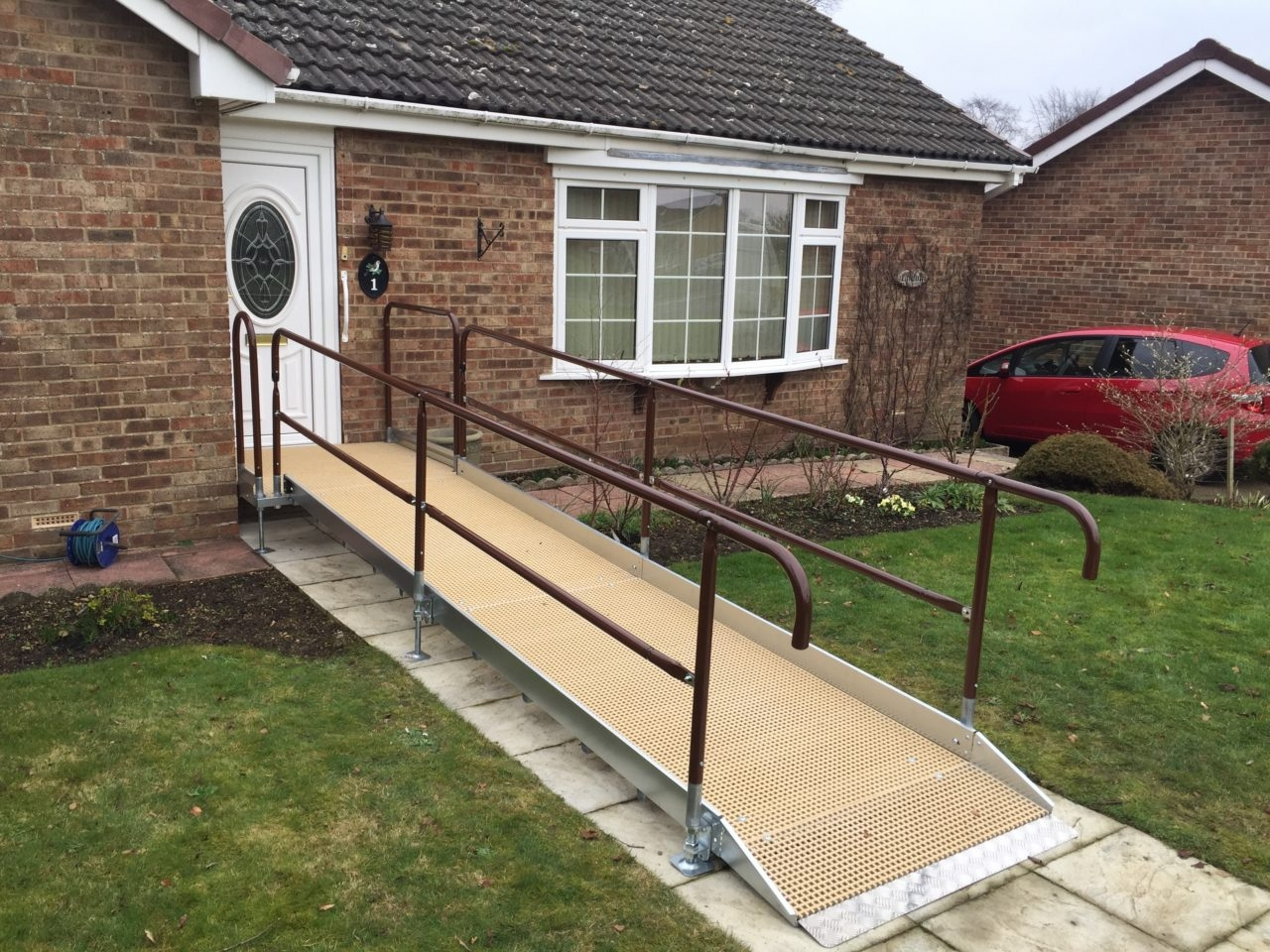 Disabled Ramps Wheelchair Ramp Access Solutions | Disabled Handrails For Outside Steps | Elderly | Full Width | 2 Step | Outdoor | Industrial Pipe