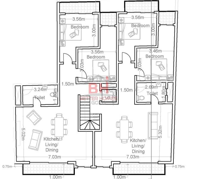 second & third floor
