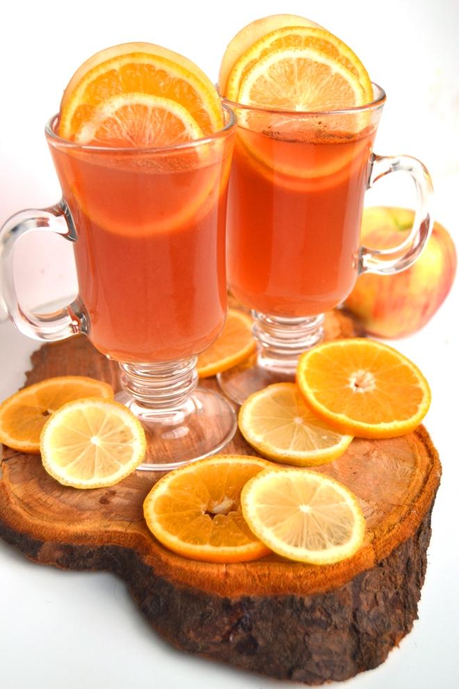 Cranberry Orange and Lime Cider mocktail