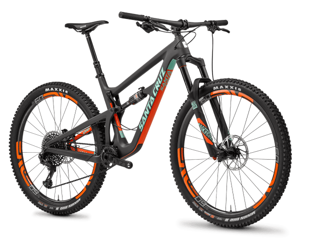 "Santa Cruz Hightower with 29"" tires (like the Trek and Pivot it can run both 29 and 27.5 plus)"