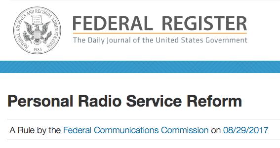 FCC Part 95 Rule Changes Published