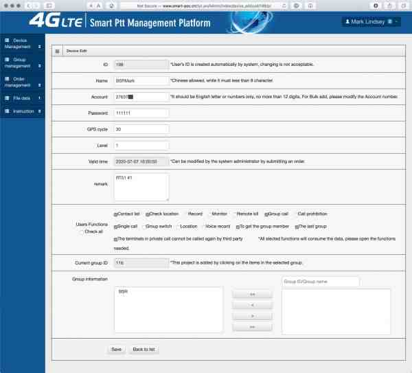 A screenshot of the Smart Ptt Management Platform's Modify Device page