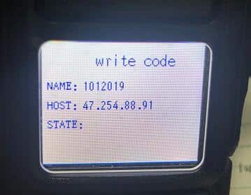 A photo of the RT51's display in the write code mode