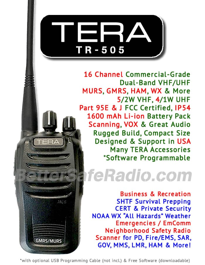 TERA TR-505 GMRS MURS NOAA Two-Way Radio – BetterSafeRadio