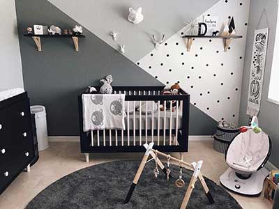 nursery with convertible crib