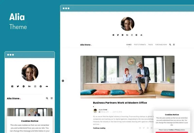 Alia Theme - Minimal Personal Blog WordPress Theme