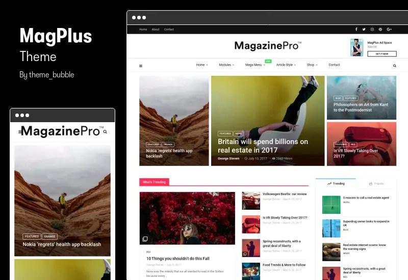MagPlus Theme - Blog, Magazine Elementor WordPress Theme