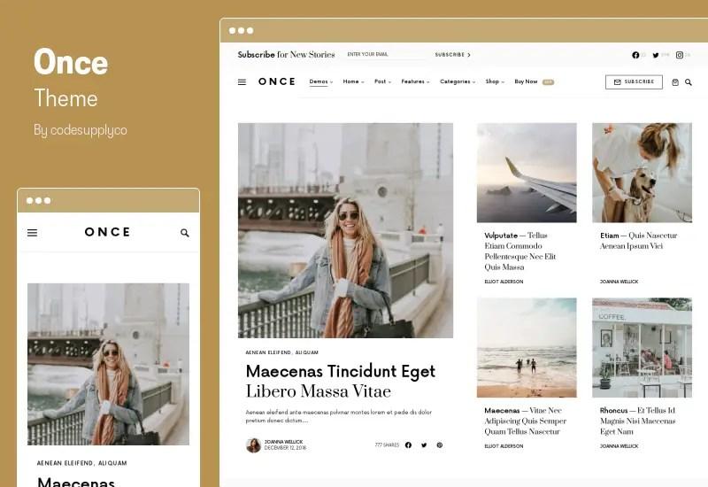 Once Theme - Clean & Elegant WordPress Blog Theme