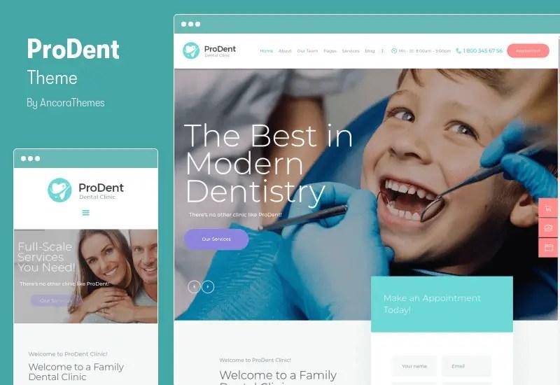 ProDent Theme - Dental Clinic & Healthcare Doctor WordPress Theme