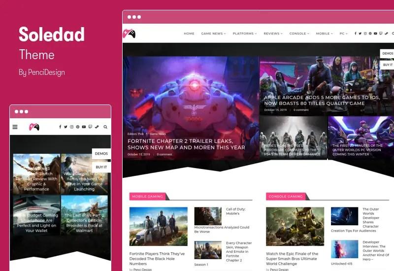 Soledad Theme - Multi-Concept Blog Magazine AMP WordPress Theme