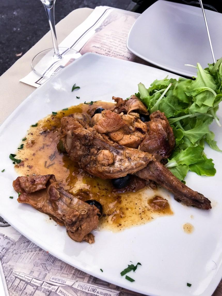 rabbit meat Rome restaurant