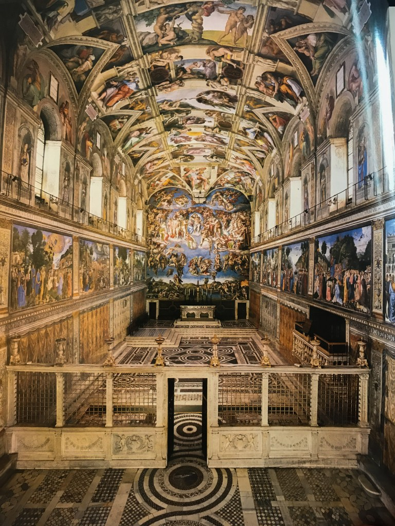this one included all the stories and names. it's not allow to take picture in Sistine chapel, so I only took pics from book.