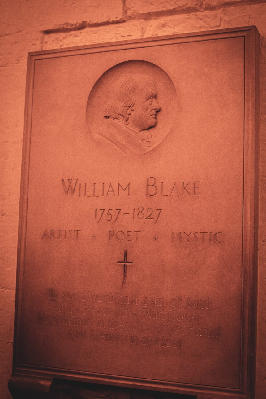 William Blake memorial at St. Paul's Cathedral guide